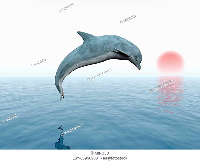 Computer generated 3D illustration with a jumping dolphin