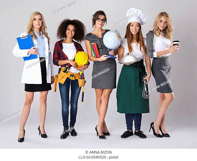 Multi-ethnic group of women with various occupations. Debica, Poland