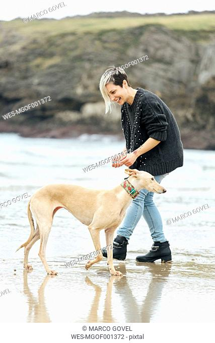 Spain, Llanes, young woman playing with her greyhound on the beach
