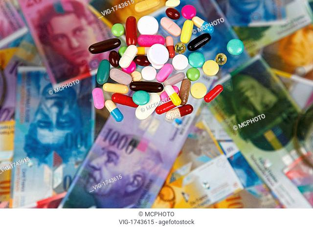 Swiss Franc and tablets as a symbol of health costs - 31/07/2009
