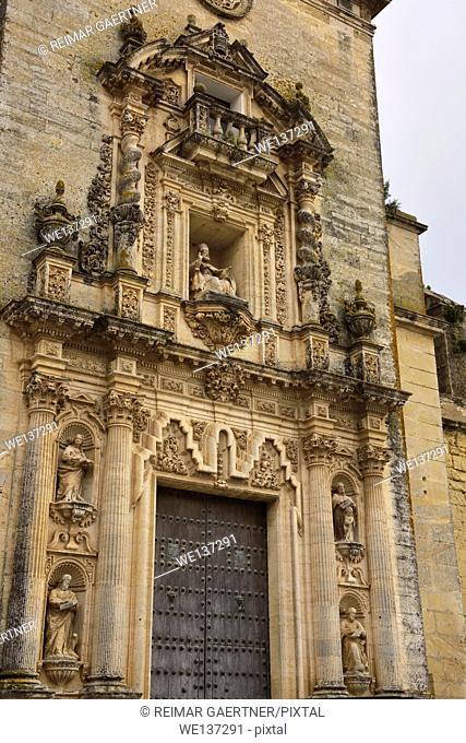 18th century sculptures at the front door of Saint Peter Church in Arcos de la Frontera Spain