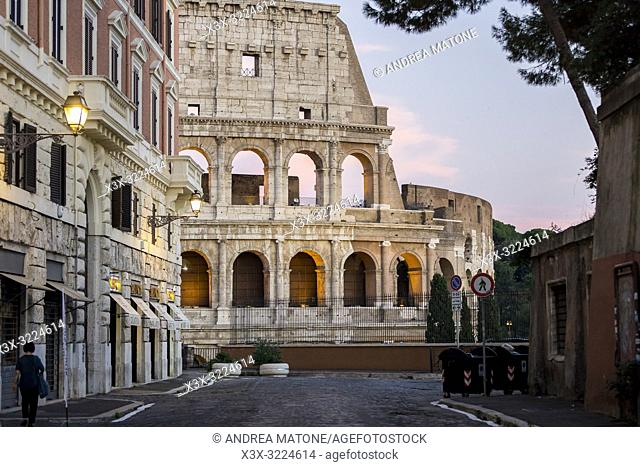 Street view of the Roman Colosseum at dusk, Rome, Italy, Europe