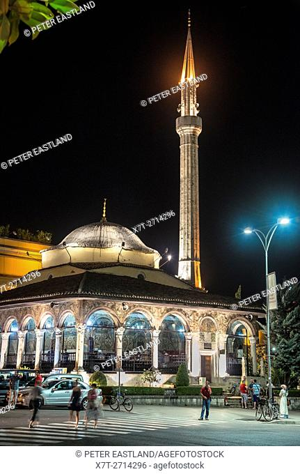 The Et'hem Bey Mosque at night on Skanderbeg Square, Tirana, Albania,
