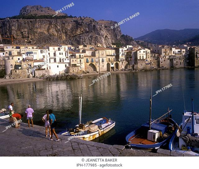 Fishing harbour and old city of Cefalu on the north Sicilian coast