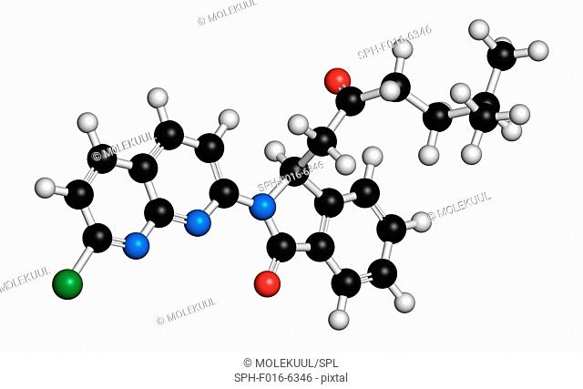 Pagoclone anxiolytic drug molecule. Atoms are represented as spheres with conventional colour coding: hydrogen (white), carbon (black), oxygen (red)