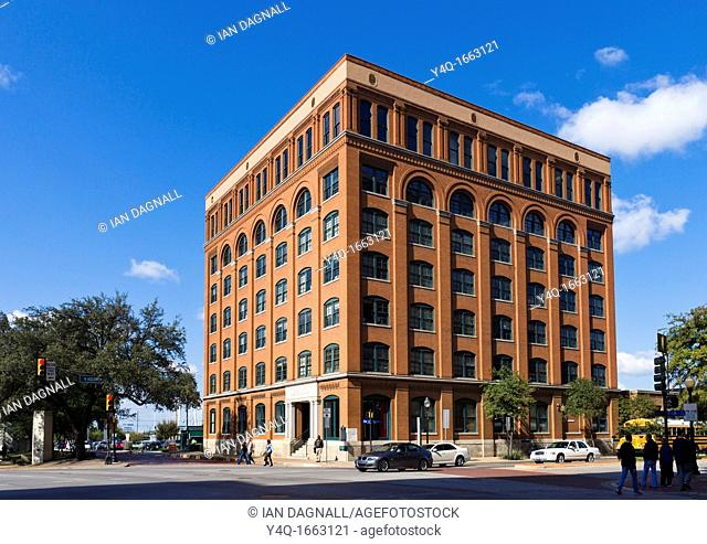 The Texas Schoolbook Depository now the Dallas County Administration Building, from which Lee Harvey Oswald shot President John F Kennedy, Elm St, Dealey Plaza