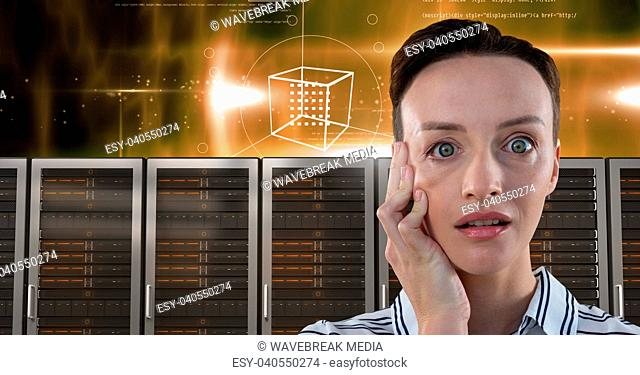 Woman with computer servers and technology information interface