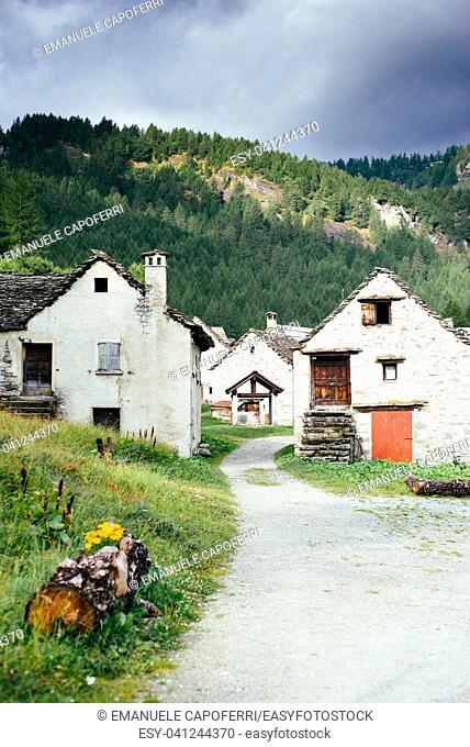 Traditional alpine village in Divedro Piedmont valley, alpe Devero Piedmont; Italy
