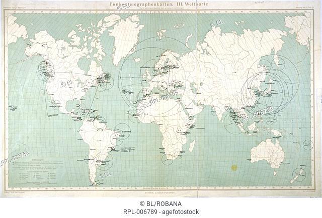 "Radio telegraph map World-radio telegraph map. Image taken from Funkentelegraphenkarten. III. Weltkarte Ã""quatorial Massstab 1: 40000000"