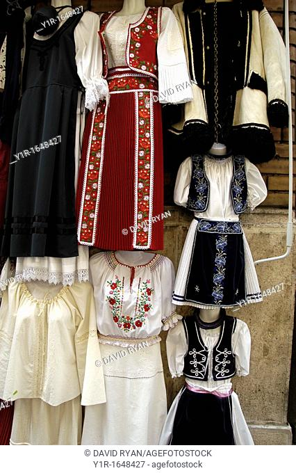 Hungary, Budapest Pest, Folkloric and traditional clothing at a shop on Vaci Street
