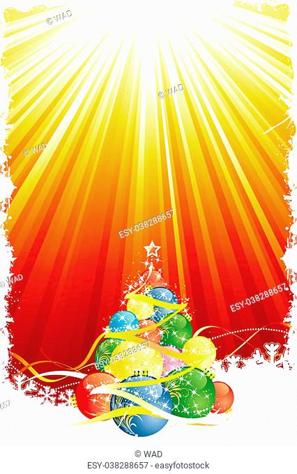 Grunge Christmas tree with red gold rays and ribbons