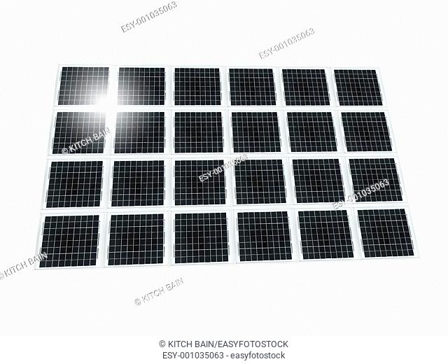 A solar panel isolated against a white background