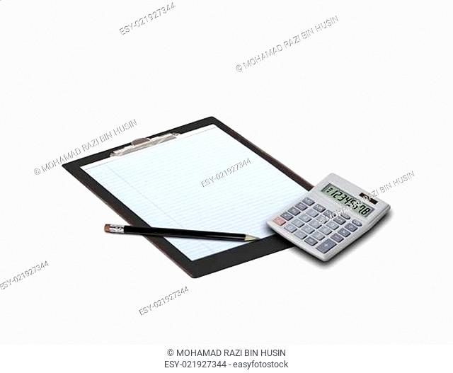 note pad and calulator