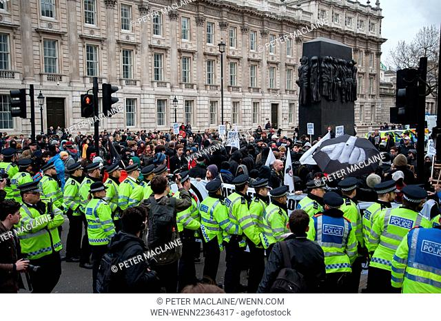 Protesters clash with police at an anti-PEGIDA demonstration at Whitehall in London Featuring: Atmosphere Where: London, United Kingdom When: 04 Apr 2015...