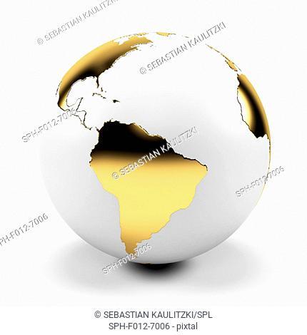 White and gold globe, Illustration