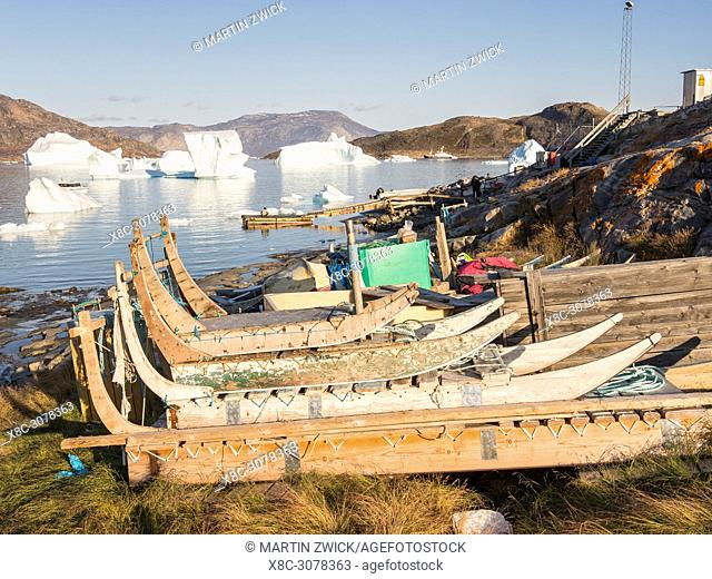 Ikerasak, a small traditional fishing village on Ikerasak Island in the Uummannaq fjord system in the north of west greenland
