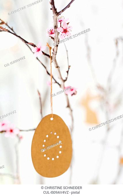 Easter decoration and twig blossom