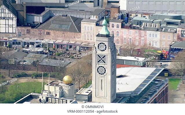 Aerial view of OXO Tower, OXO Building zoom in