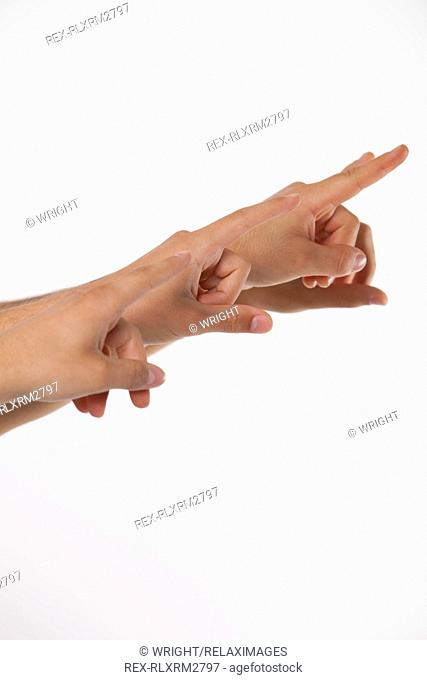 Fingers pointing white background four 4 teenagers