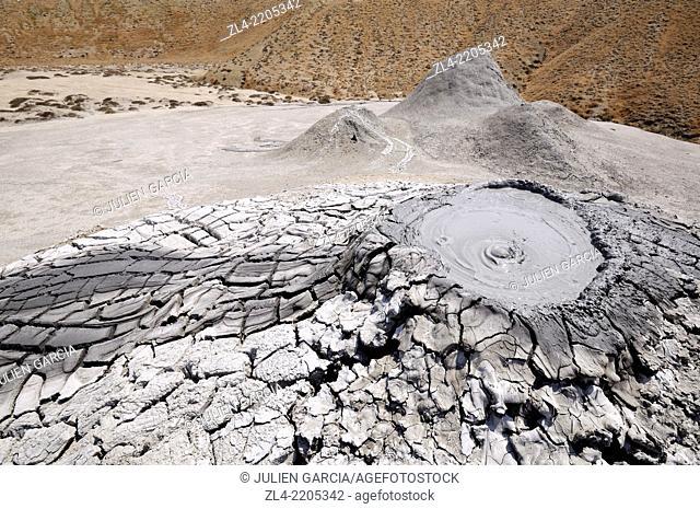 Bubbling mud volcano. Azerbaijan, Qobustan