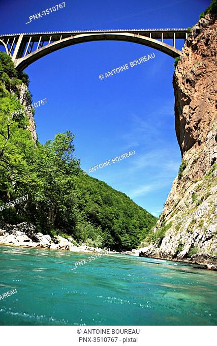 Montenegro, Bridge of Durdevica, 165 meters high above the river Tara and seen from a rafting boat