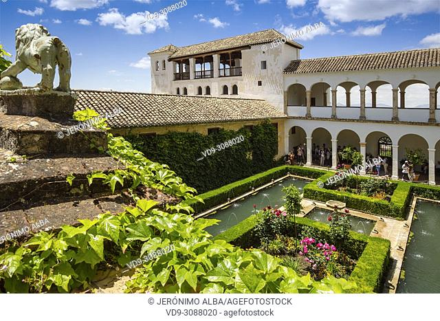 Generalife Palace gardens. Alhambra, UNESCO World Heritage Site. Granada City. Andalusia, Southern Spain Europe