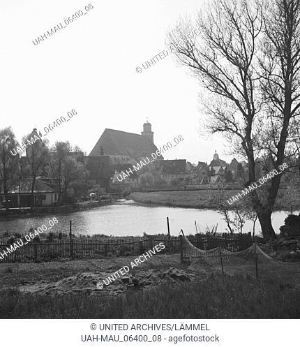 Unterwegs in und um Dinkelsbühl in Mittelfranken, Deutschland 1930er Jahre. At and around the city of Dinkelsbuehl in Middle Franconia, Germany 1930s