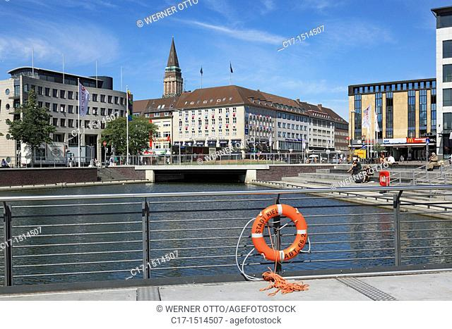 Germany, Kiel, Kiel Fjord, Baltic Sea, Schleswig-Holstein, Bootshafen, Berliner Platz, business houses, administration buildings, city hall tower, lifebelt