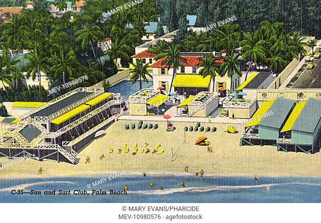 Aerial view of the Sun and Surf Club, Sunrise Avenue, Palm Beach, Florida, USA, for guests of the Biltmore and Whitehall Hotels