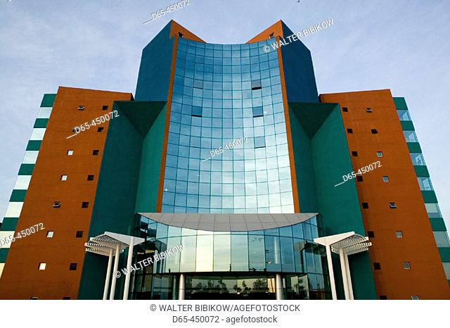 HITEC CITY. Major center of Indian Software Call Centre Industry. Invensys IT Building. Late Afternoon. Hyderabad. Andhra Pradesh. India