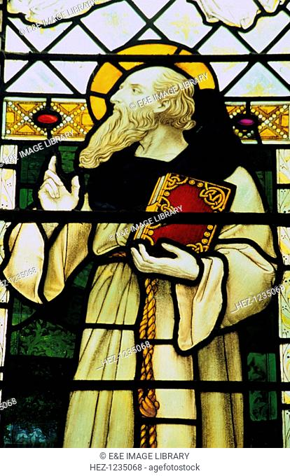 St Columba, stained glass window, St Nicholas Church, Blakeney, Norfolk. Columba, an Irish monk and missionary, played a major part in spreading Christianity to...