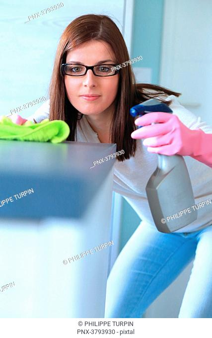 France, maniac woman doing housework