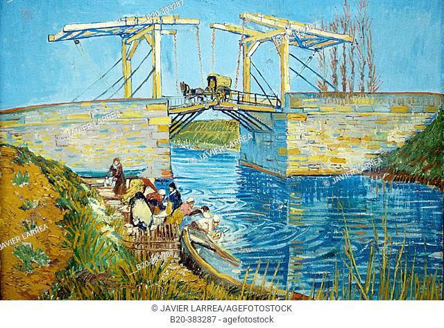 'The Langlois Bridge at Arles with Women Washing' (1888) by Vincent Van Gogh. Kröller-Müller Museum, Het Nationale Park De Hoge Veluwe