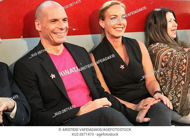 Yanis Varoufakis with his wife Danae Stratou. Yanis Varoufakis and members of DIEM 25 present the principles and the basic social and political aspects of the...