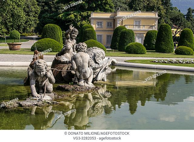 Como, Lombardy, Italy. Villa Olmo (1782), an important neoclassical villa in Como, designed by the architect Simone Cantoni, during the restoration works