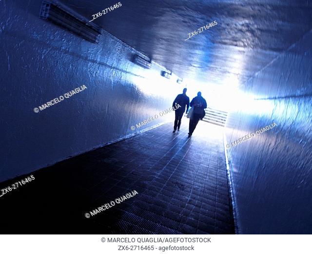 Railroad underground pathway. Arenys de Mar village. Maresme region, Barcelona province, Catalonia, Spain