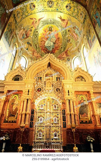Interior, Church of the Savior on Spilled Blood. Saint Petersburg, Northwestern, Russia