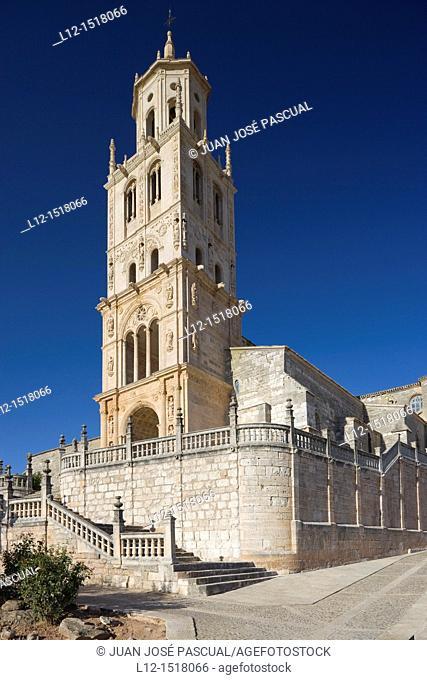 Santa Maria Church tower by architect Diego de Siloe, Santa Maria del Campo, Burgos province, Castille-Leon, Spain