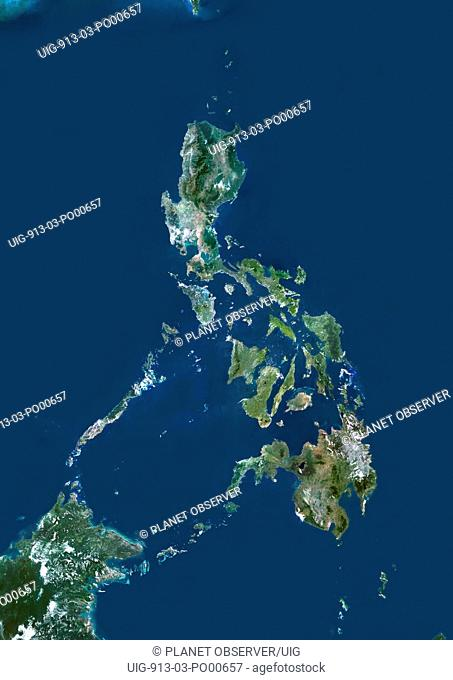 Philippines, Asia, True Colour Satellite Image. Satellite view of the Philippines. This image was compiled from data acquired by LANDSAT 5 & 7 satellites