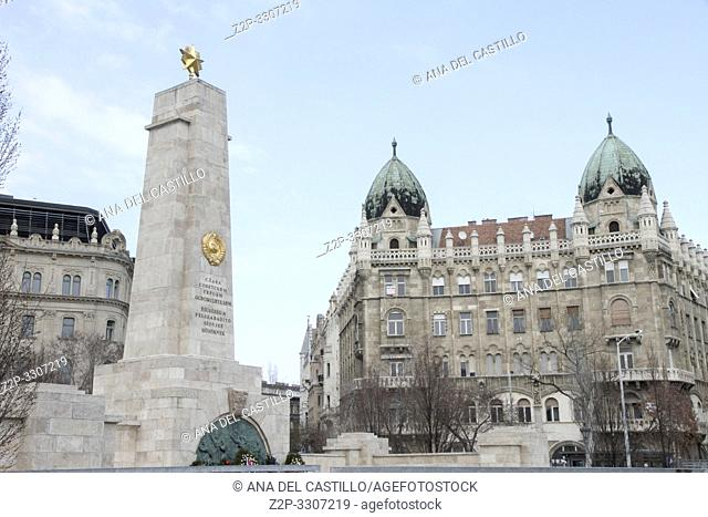 Monument to Soviet soldiers on the Freedom Square in Budapest, Hungary