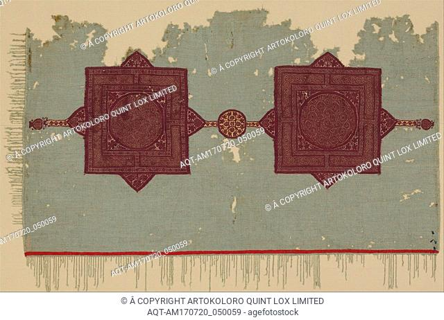 Fragment of a Cover with Geometric and Interlace Decoration, 5th century, Attributed to Egypt, Wool, linen; plain weave, tapestry weave, Textile: L