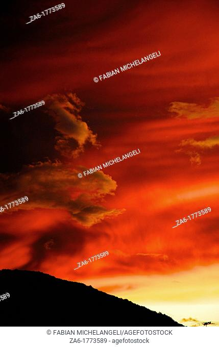 Sunset clouds in Rio Caribe in the eastern coast of Venezuela