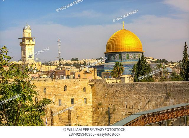 """Golden Dome of the Rock Ghawanima Minaret Western""""""""Wailing"""""""" Wall of Ancient Temple Jerusalem Israel. Western wall of the Ancient Jewish Temple built in 100BC..."""