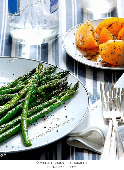 Asparagus and heirloom tomatoes