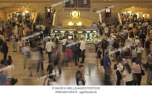 Time-Lapse of commuters in Grand Central Station in New York, New York