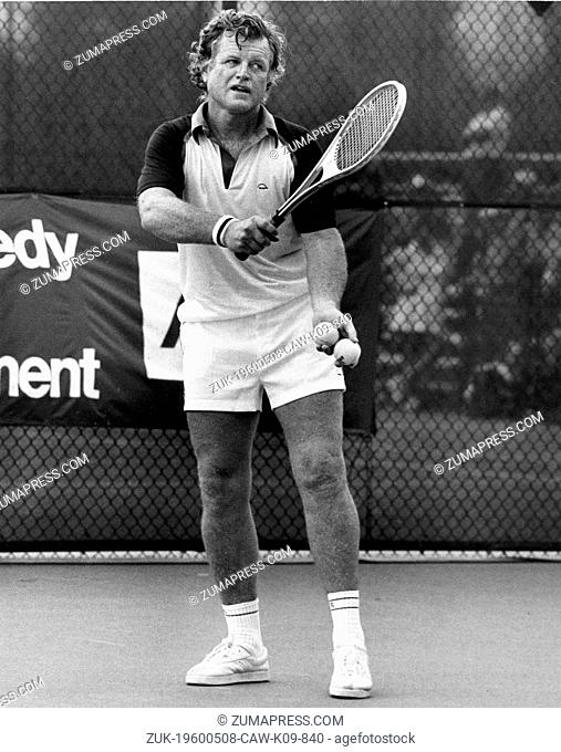 Aug. 24, 1979 - New York, NY, U.S. - Senator EDWARD KENNEDY playing in the annual RFK Pro-Celebrity Tennis Tournament in Forest Hills for charity