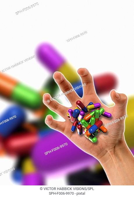 Drug addiction, conceptual computer artwork