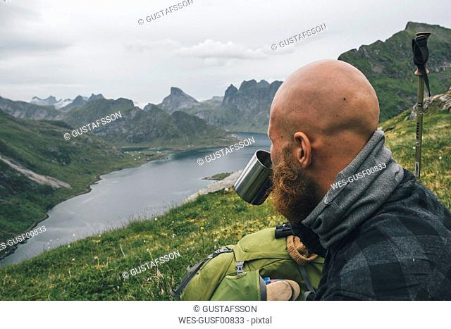 Norway, Lofoten, Moskenesoy, Man looking at view, drinking from tin cup