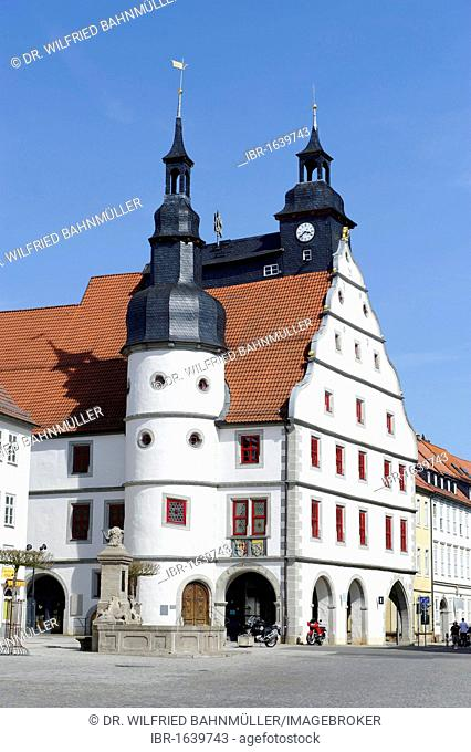 Market square with town hall, Hildburghausen, Thuringia, Germany, Europe