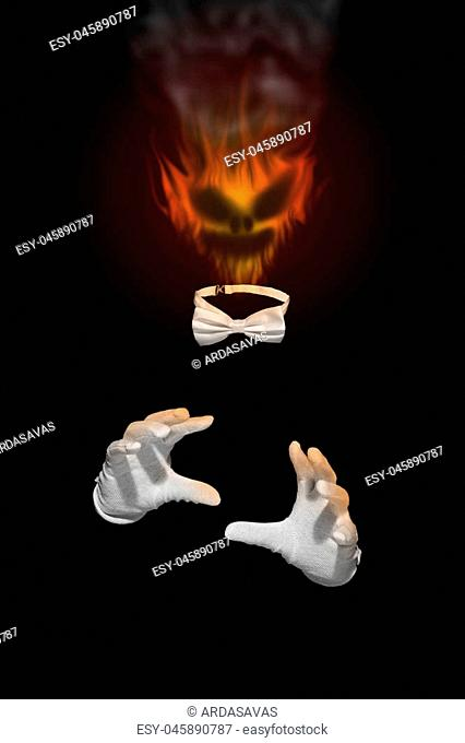 Invisible man like a ghost. Head is burning in flames and has evil glance, with white gloves and bow tie